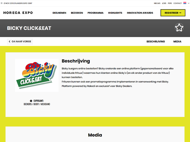 Bicky Click&Eat dingt mee in de categorie Technology naar een Innovation Award op de Horeca beurs in Flanders Expo